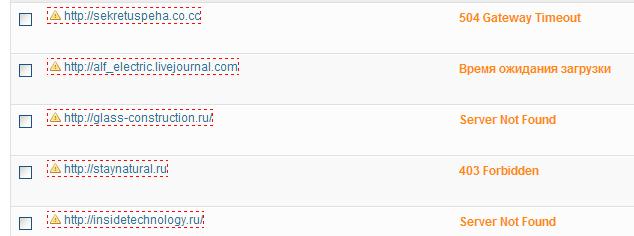 Рузульататы работы roken-link-checker